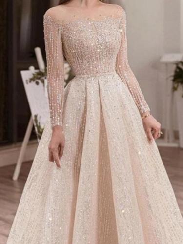 Women bling elegant long sleeve skater dresses Evening dresses