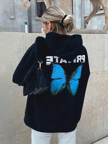 Autumn hoodied women butterfly printed lomg sleeve hoodies