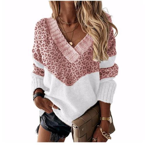 V neck leopard desin long sleeve women sweaters