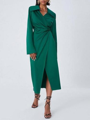 Suit collar long skirt thin green maxi dresses