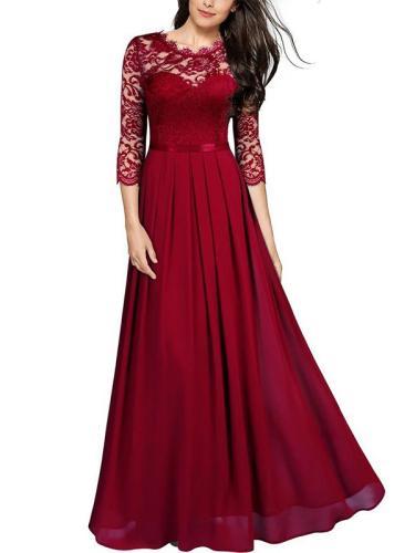 Lace three quarter sleeve round neck eleagnt long dress evening dresses Party dresses