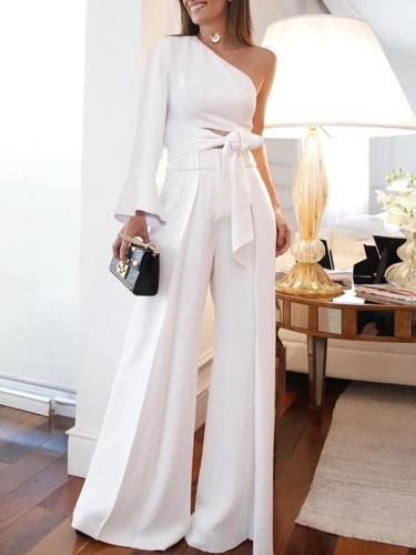 Women one off shoulder elegant bowknot tie long suits