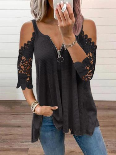 Zipper off shoulder lace women T-shirts