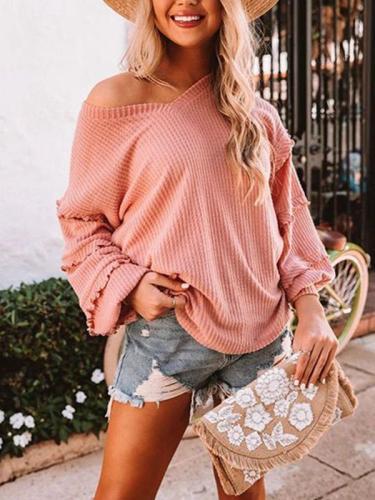 Sexy v neck plain women halter sleeve tops T-shirts