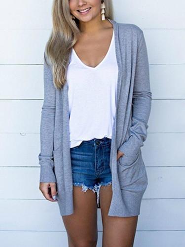 Women daily plain pockets coats