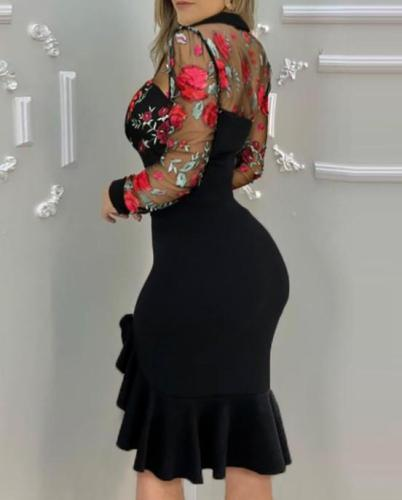 Sexy black long sleeve Net yarn ruffle bodycon dresses