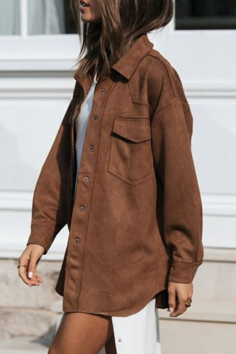 Fashion Casual Solid Split Joint Turndown Collar Outerwear