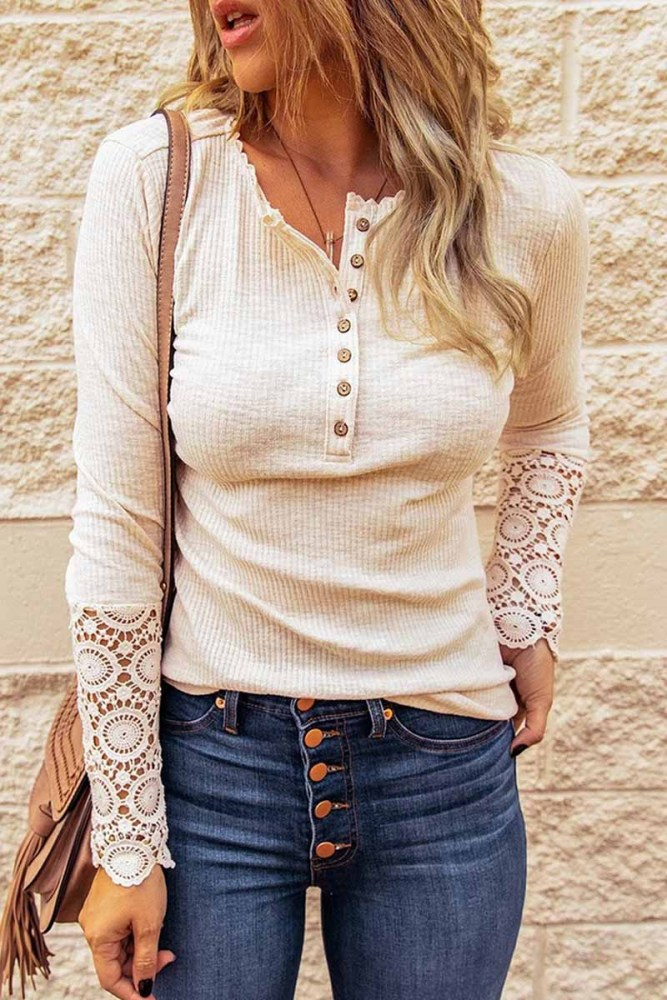 Florcoo Pure Color Casual Large Size Loose Cuff Lace Shirt(7 Colors)