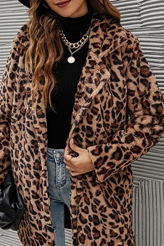 Casual Leopard Split Joint Pocket Turndown Collar Outerwear