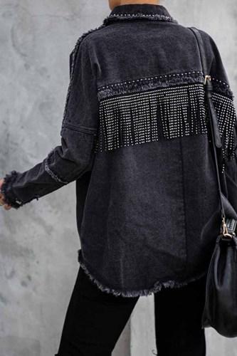 Florcoo Long Sleeve Fringed Denim Jacket Tops