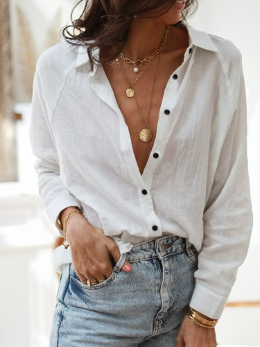 Casual Shirt Collar Long Sleeve Shirts & Tops