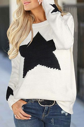 Florcoo Star Shaped Sweater 3 Colors Tops