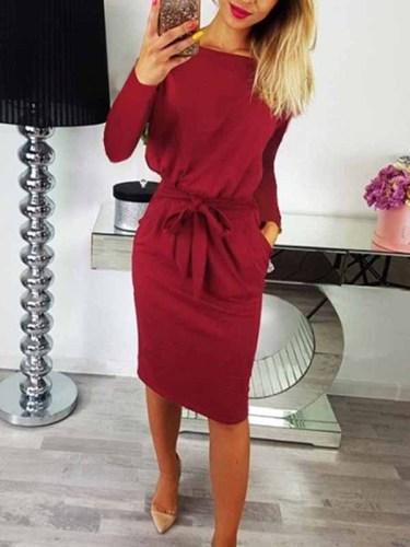 O Neck Midi Dress With Belt (Long Sleeve)