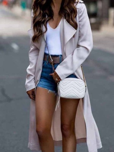 Florcoo Long Sleeve Lapel Solid Trench Coat
