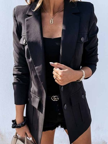 Elegant Solid Pocket Buckle Turn-back Collar Outerwear