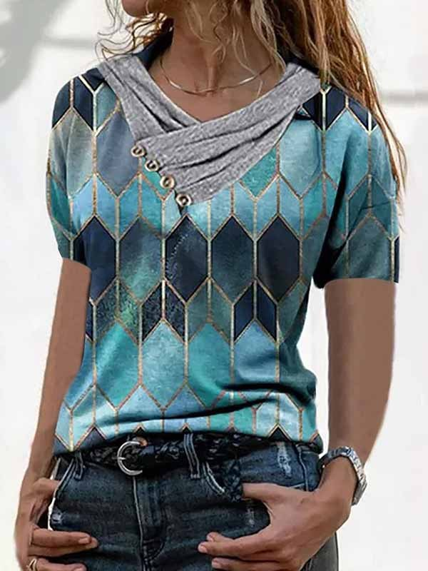 Casual Gored V neck Sleeveless Fastener T-Shirts