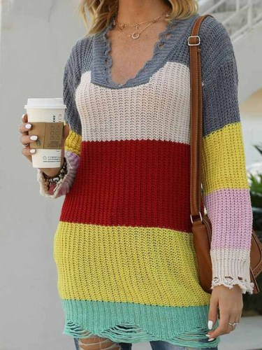 Fashion Casual Striped Split Joint V Neck Tops
