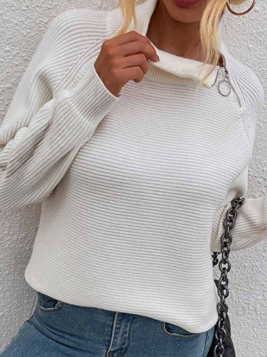 Fashion Casual Solid Split Joint Turtleneck Tops