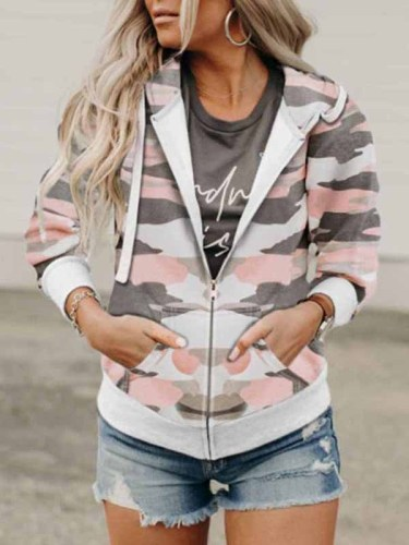 Florcoo Printed Camouflage Hooded Jacket