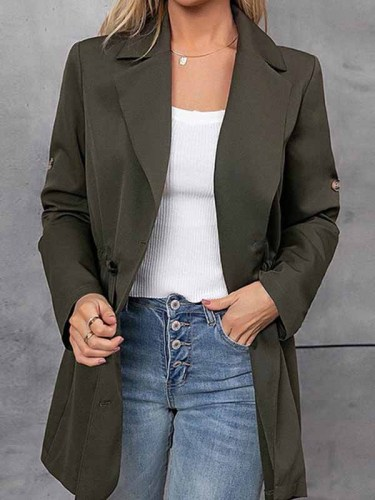 Fashion Elegant Solid Draw String Buttons Turn-back Collar Outerwear