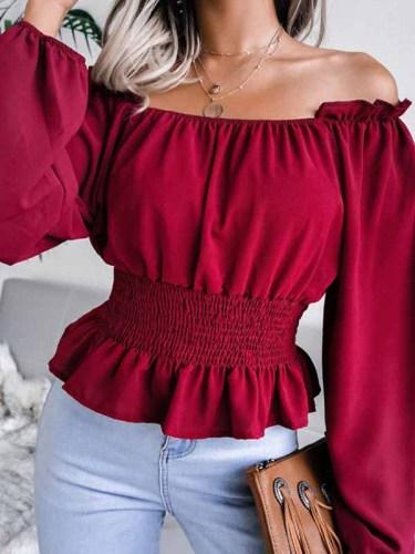 Fashion Elegant Solid Split Joint Flounce Off the Shoulder Tops
