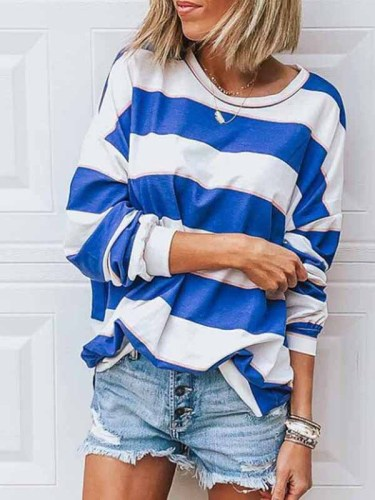 Florcoo Loose Round Neck Striped T-shirt