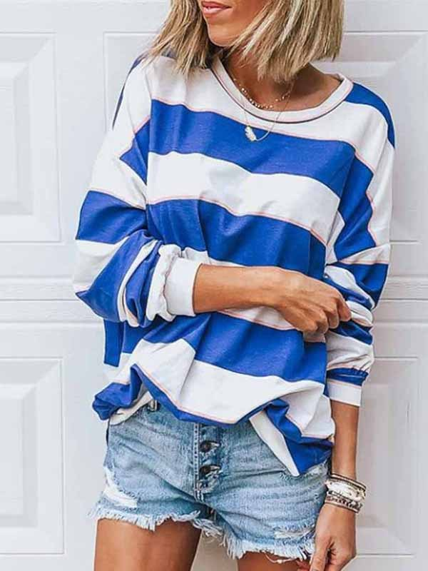 Loose Round Neck Striped T-shirt