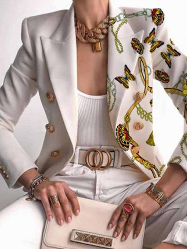 British Style Butterfly Print Buckle Turn-back Collar Outerwear