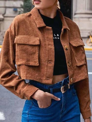 Street Solid Pocket Buckle Turndown Collar Outerwear Jackets