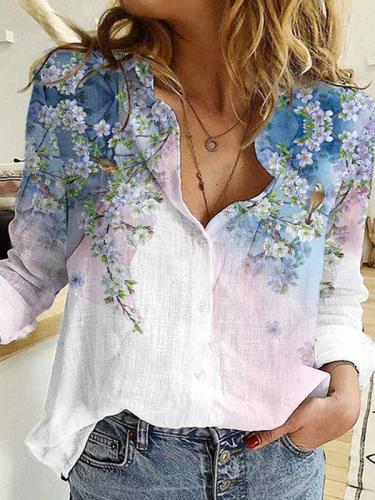 Fashion Turn down neck Stylish printed long sleeve blouses for women