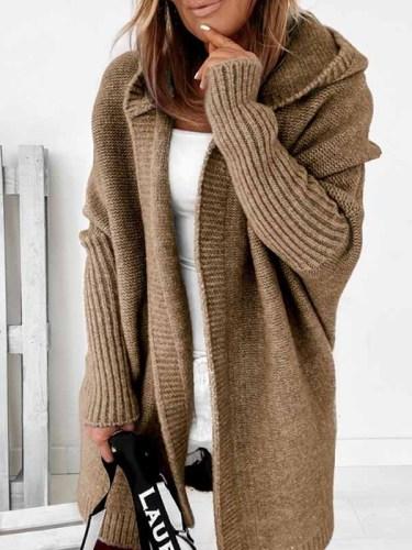 Hooded plain bat sleeve women knit cardigans coats