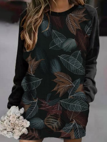 Leaf print casual basic personality dress