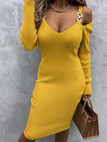Autumn and winter long strapless V-neck metal pendant sexy slim sweater bodycon dresses