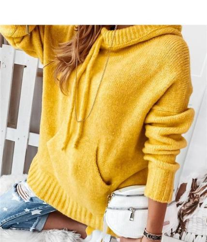 Warm hoodied women pockets long sleeve winter sweaters