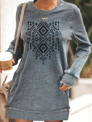 Ethnic style pattern printing casual basic personality dress