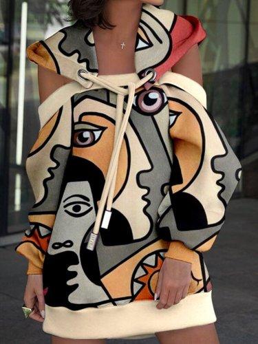 Casual Long Sleeve Plus Size Printed Hoodie Dress
