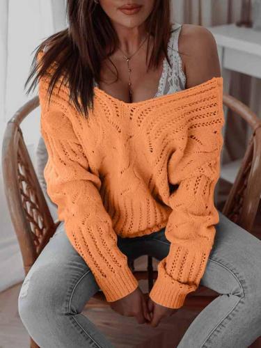 Knit v neck off shoulder women sweaters for women