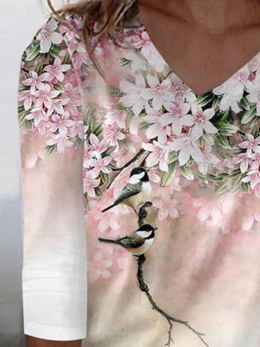 V neck printed fashion long sleeve women T-shirts