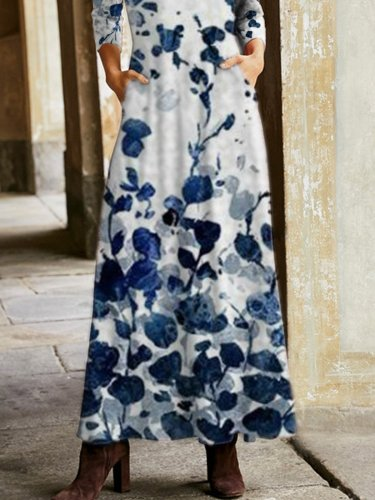 Vacation Blue Floral Winter Long Dresses