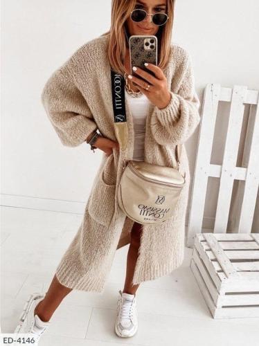 Soft warm plain long sweater cardigans women coats