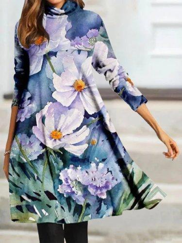 Blue Floral Casual Vacation Elegant Midi Dresses