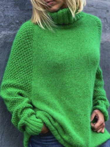 Shirt Sleeve Casual Green Plain Sweater