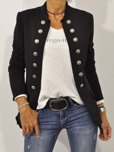 Black Long Sleeve Shift Buttoned Solid Outerwear