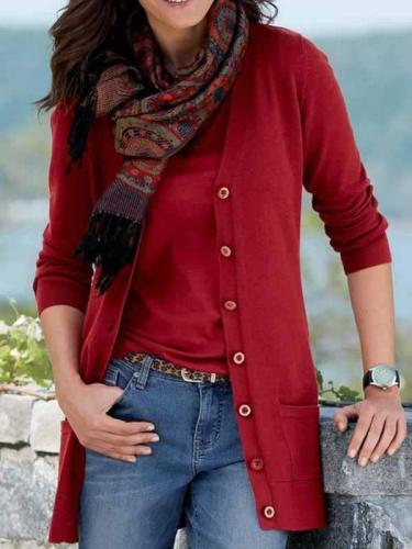 Daily plain button v neck sweaters women cardignas with pockets