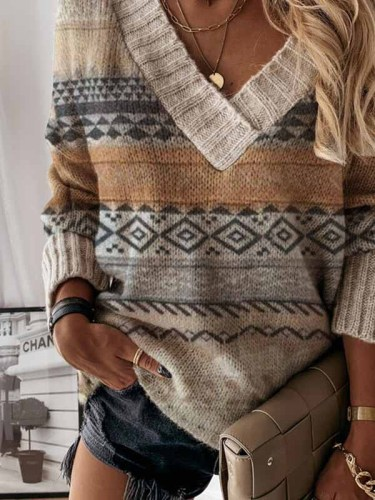 Printed V-neck casual sweater ladies loose long-sleeved knit sweaters