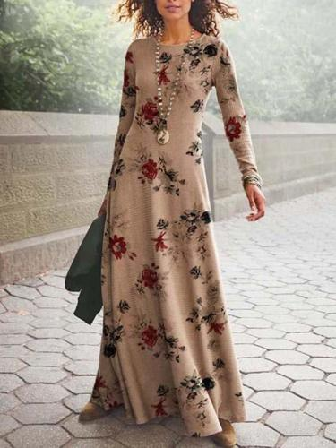 Round neck Long-sleeved Floral Maxi Dresses