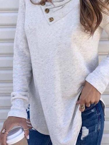 V neck button women plain long sleeve T-shirts