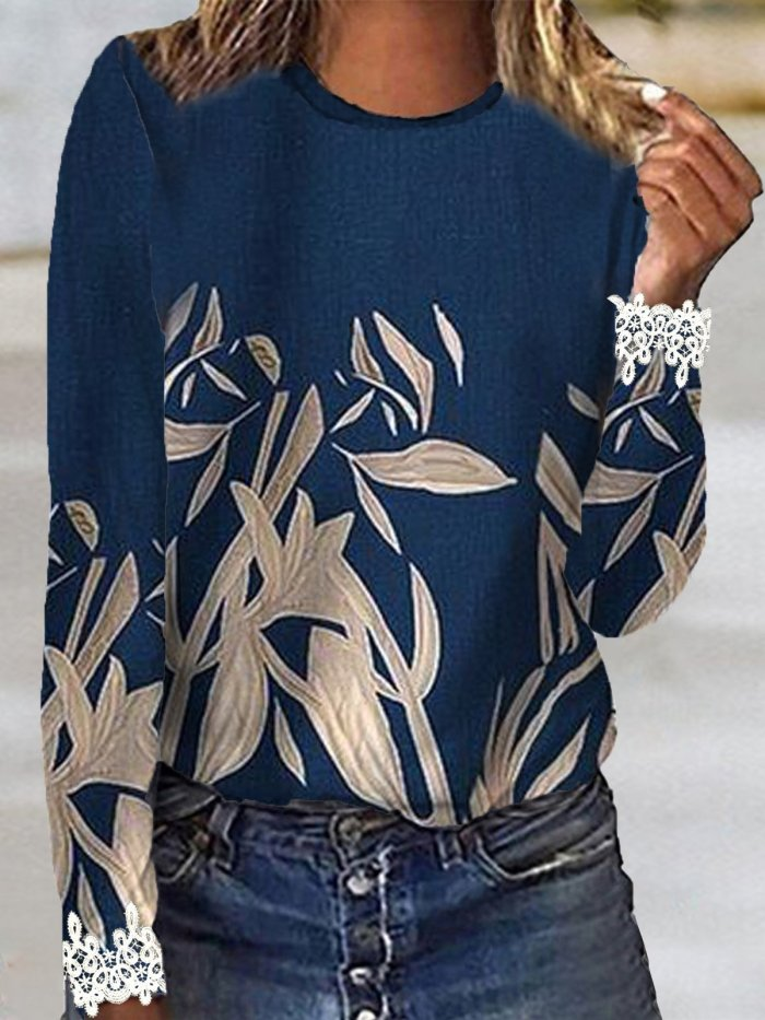 Floral Crew Neck Holiday Shirts & Tops