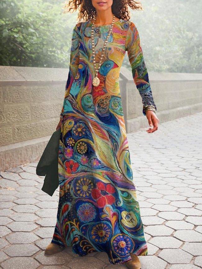 Vintage Round neck long sleeve maxi Dresses