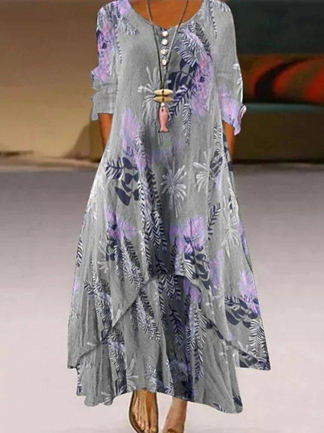 Gray Floral Printed A Line Maxi Dresses